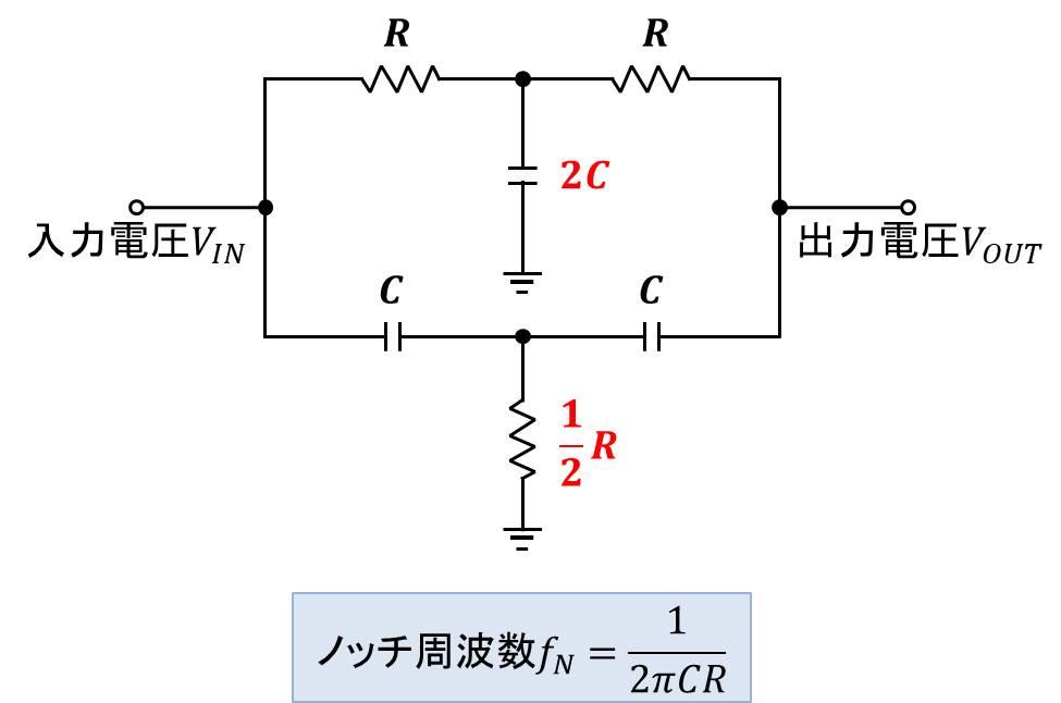 ノッチフィルタの回路図と設計方法