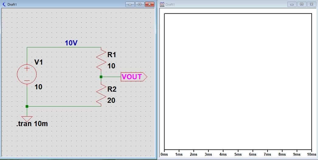 回路図上に電圧が表示(tran解析)