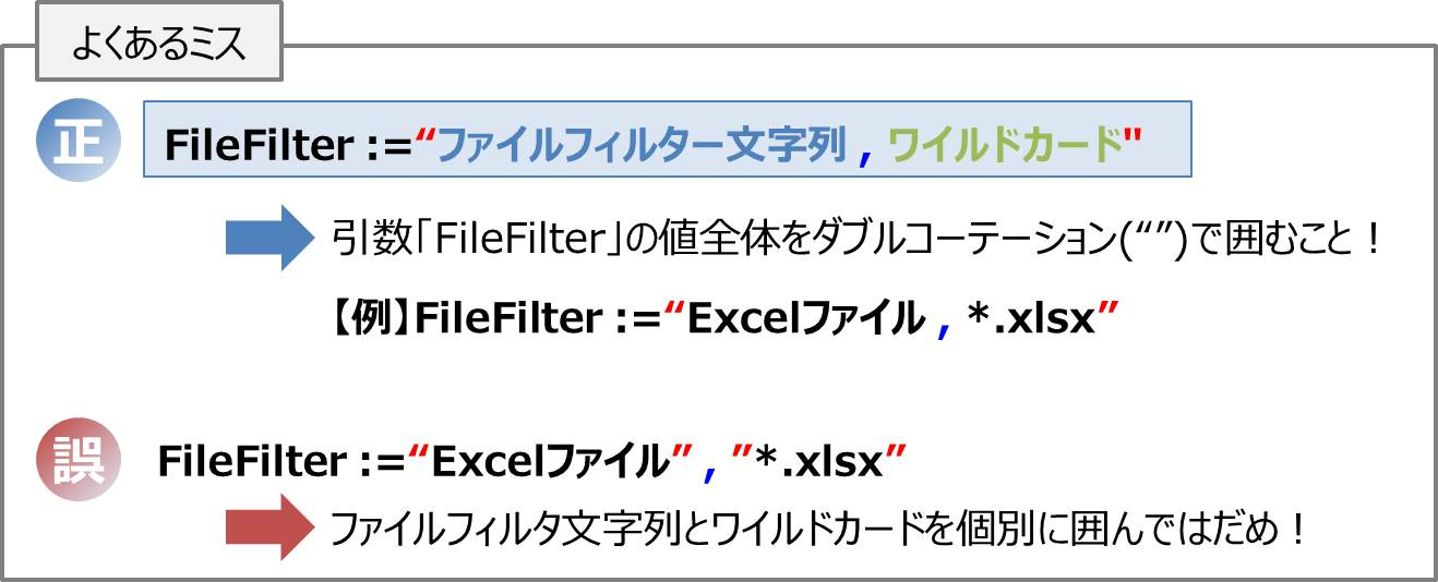 ファイルフィルタ文字列とワイルドカードのセットで「ダブルコーテーション」で囲むこと