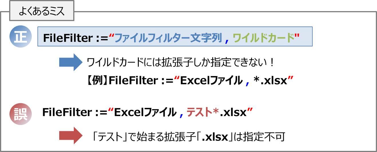 引数「FileFilter」のワイルドカードは拡張子しか指定できない