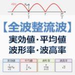 全波整流波の実効値・平均値・波形率・波高率(アイキャッチ)