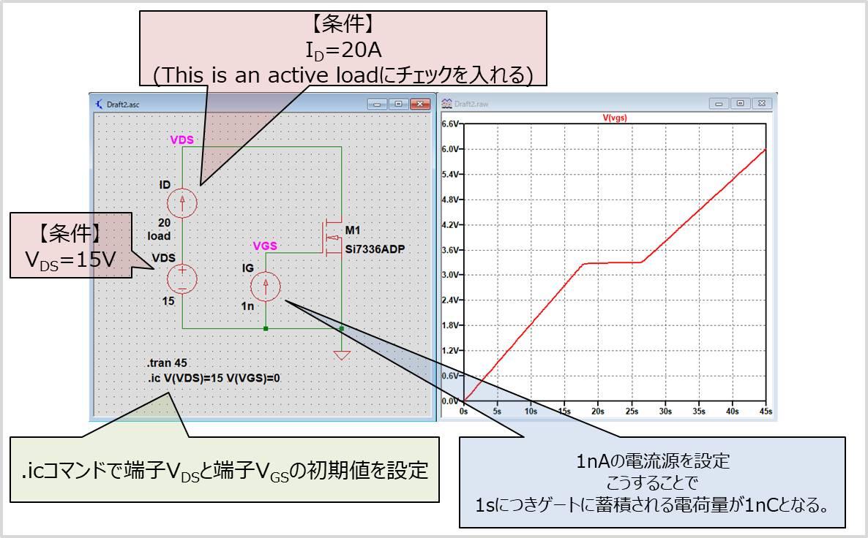 LTspiceでQg-VGS特性を取得する方法