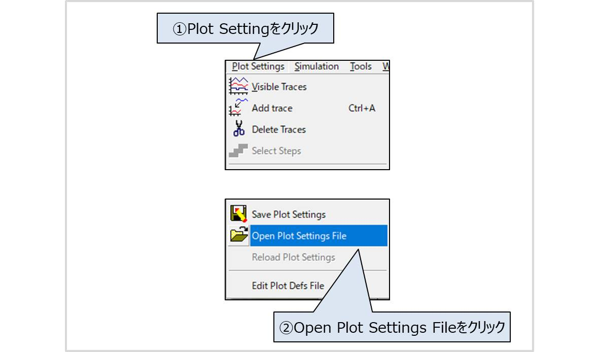 【LTspice】シミュレーション波形の設定(Open Plot Settings File)