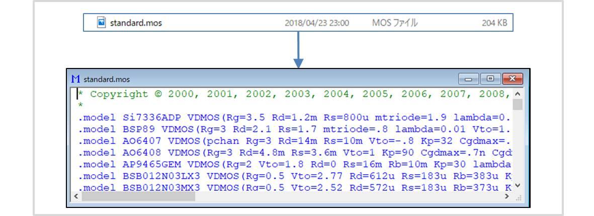 【LTspice】ディスクリート部品のライブラリファイル(.mosファイル)
