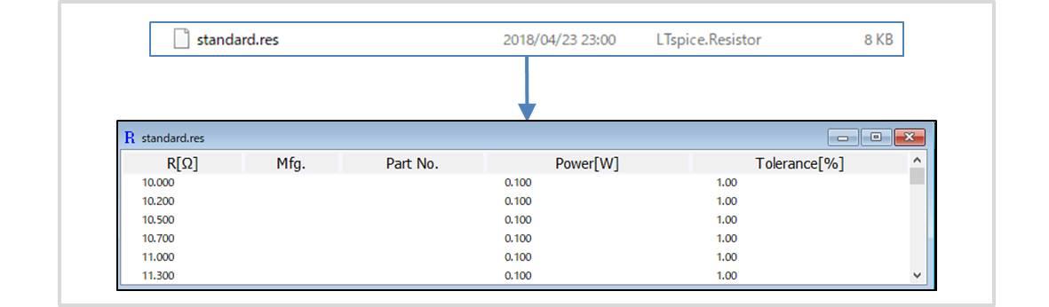 【LTspice】ディスクリート部品のライブラリファイル(.resファイル)