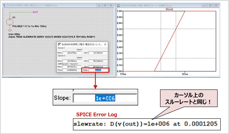 【LTspice】DERIVを使用して電流・電圧の微分値(スルーレート)を確認する