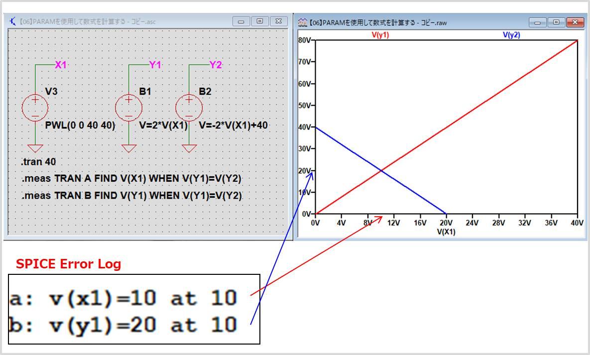 【LTspice】PARAMを使用して連立方程式を計算する