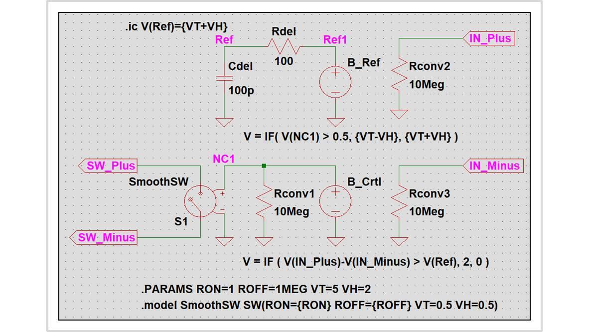 ヒステリシススイッチをサブサーキットで作成する方法