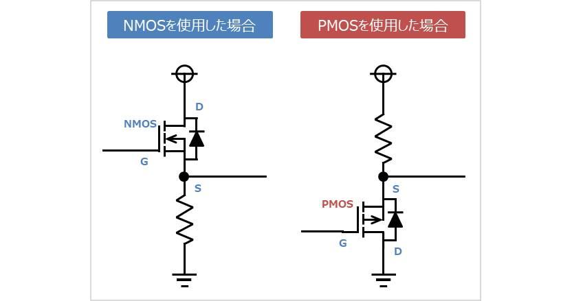 PMOSを使用した場合のドレイン接地回路