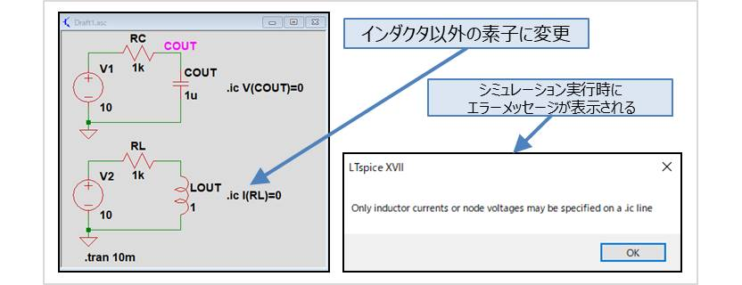 【LTspice】『.icコマンド』でインダクタ以外の素子の初期電流を設定した場合