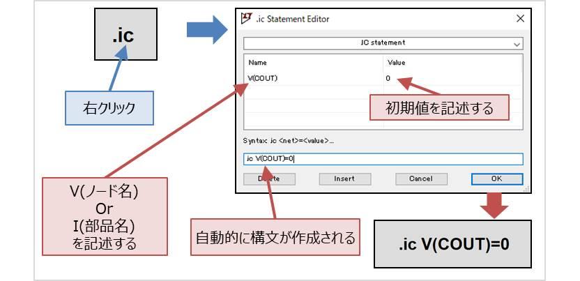 【LTspice】『.icコマンド』の記述方法01