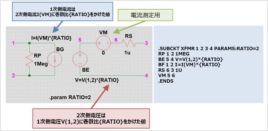 【LTspice】トランスの『等価回路』と『ネットリスト(XFMR)』