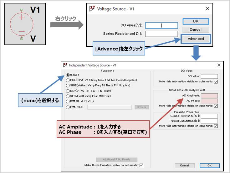 【LTspice】 『.ac解析』で使用する信号源