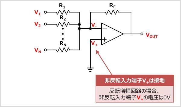 【加算回路】 非反転増幅端子の電圧を求める
