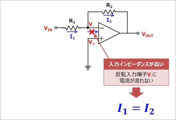 【反転増幅回路】 反転入力端子の電圧を求める