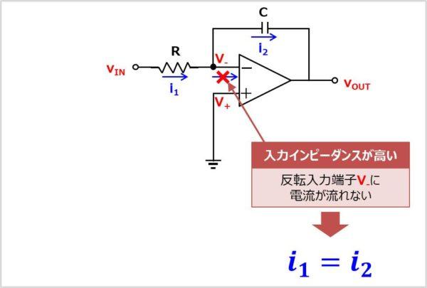 【積分回路】 反転入力端子の電圧を求める