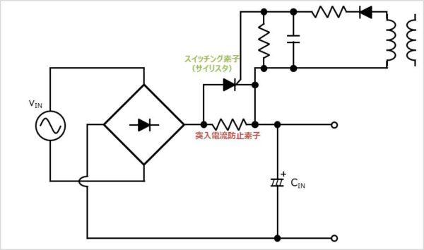 【突入電流防止回路】トランスの電圧を利用