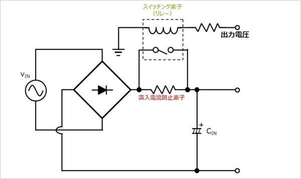 【突入電流防止回路】出力電圧を利用
