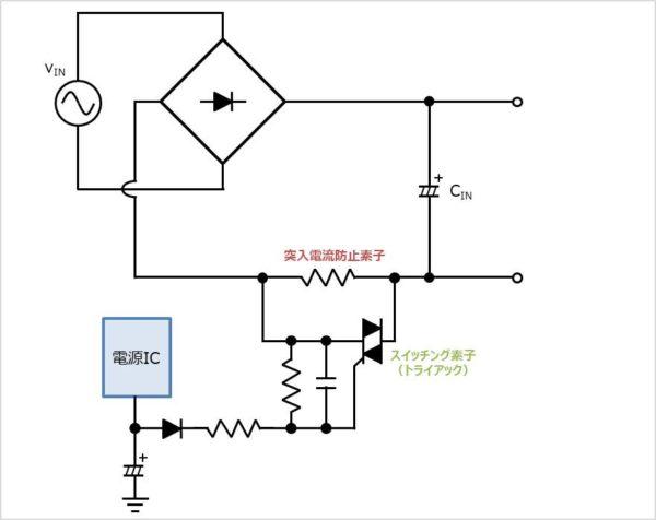 【突入電流防止回路】電源ICの電圧を利用