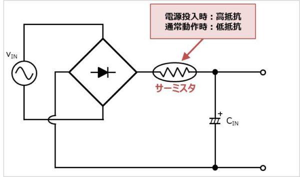 【突入電流防止回路】NTCサーミスタを用いた場合