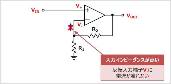 【非反転増幅回路】 反転入力端子の電圧を求める