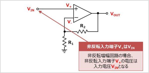 【非反転増幅回路】 非反転増幅端子の電圧を求める