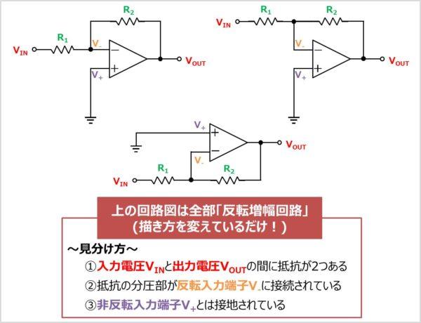 反転増幅回路の見分け方