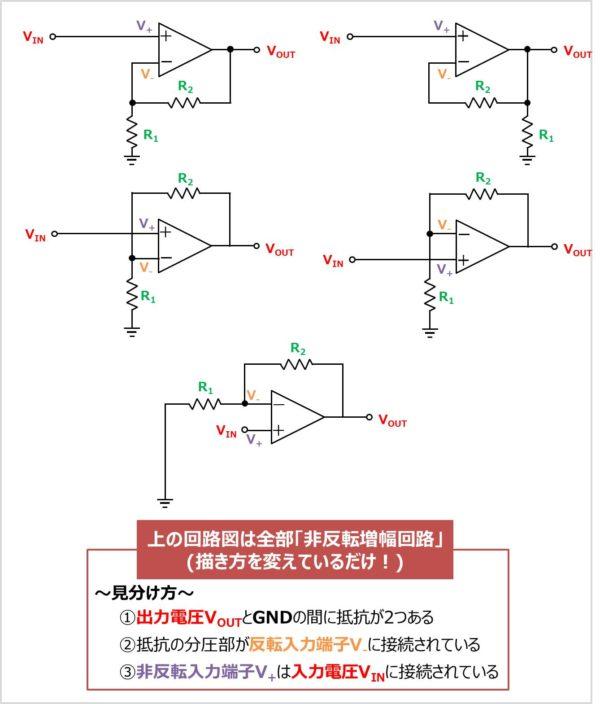 非反転増幅回路の見分け方