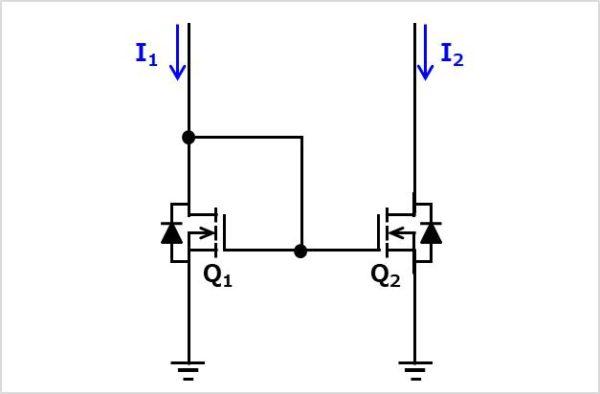 MOSFETを使用したカレントミラー