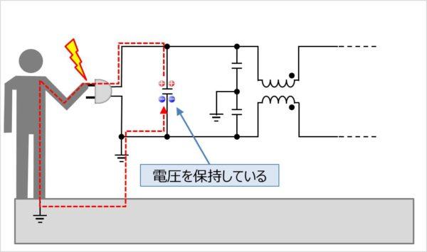 Xコンデンサ(Xキャパシタ)は感電に注意