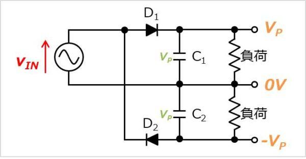 【応用回路】両波倍電圧整流回路を用いた正負電源回路