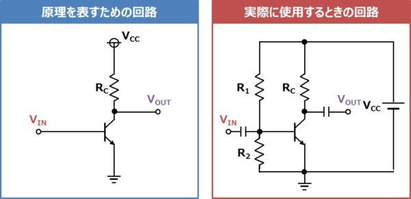 エミッタ接地回路を実際に使用する時の回路