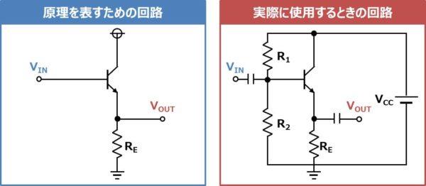 コレクタ接地回路(コレクタフォロワ)を実際に使用する時の回路