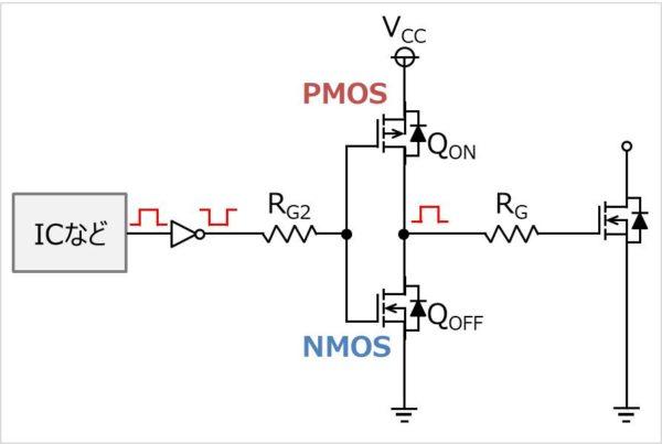 プッシュプル回路(トーテムポール回路)を形成したゲート駆動回路(MOSFETを使用)