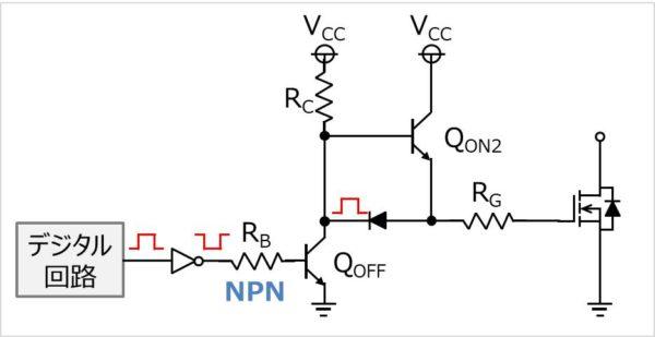 NPNトランジスタを2つ用いて昇圧をするゲート駆動回路