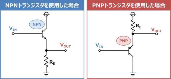 PNPトランジスタを使用した場合のエミッタ接地回路(エミッタフォロワ)