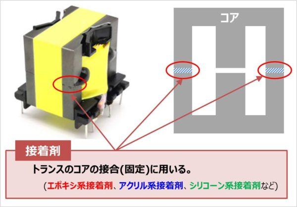 トランスのコアの接合(固定)に用いる『接着剤』
