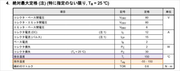 バイポーラトランジスタの『接合温度Tj』と『保存温度Tstg』の値