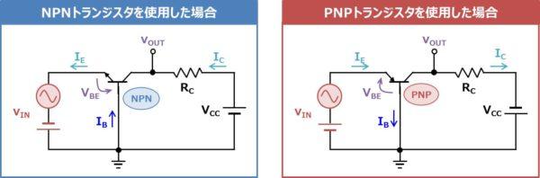 PNPトランジスタを使用した場合のベース接地回路