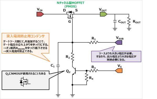 Nチャネル型MOFFETを使用したロードスイッチ