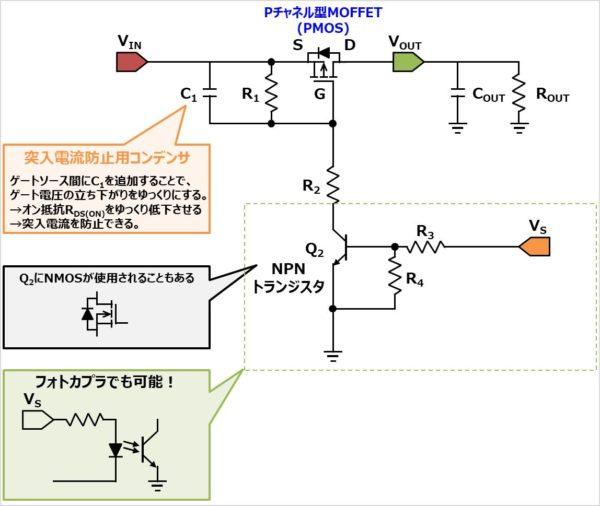 Pチャネル型MOFFETを使用したロードスイッチ