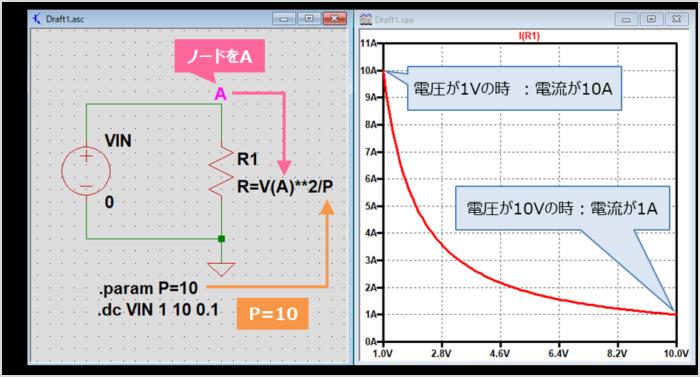 抵抗を用いて定電力負荷を作成する方法