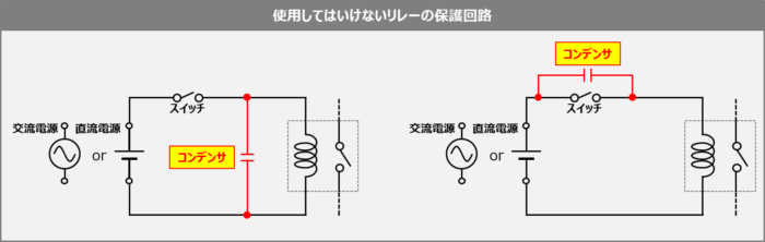 使用してはいけないリレーの保護回路