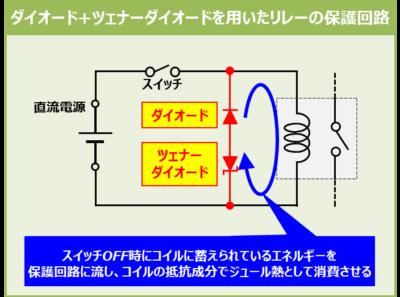 ダイオード+ツェナーダイオードを用いたリレー保護回路