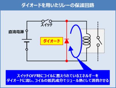 ダイオードを用いたリレー保護回路