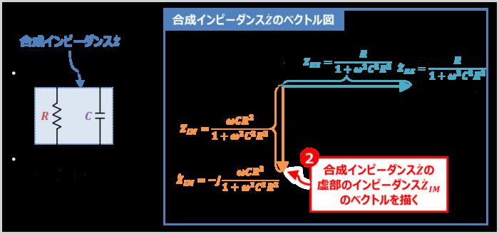 RC並列回路の『合成インピーダンス』のベクトル図の描き方02