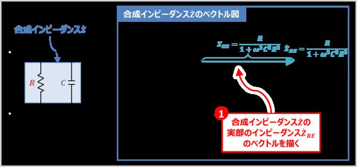 RC並列回路の『合成インピーダンス』のベクトル図の描き方01