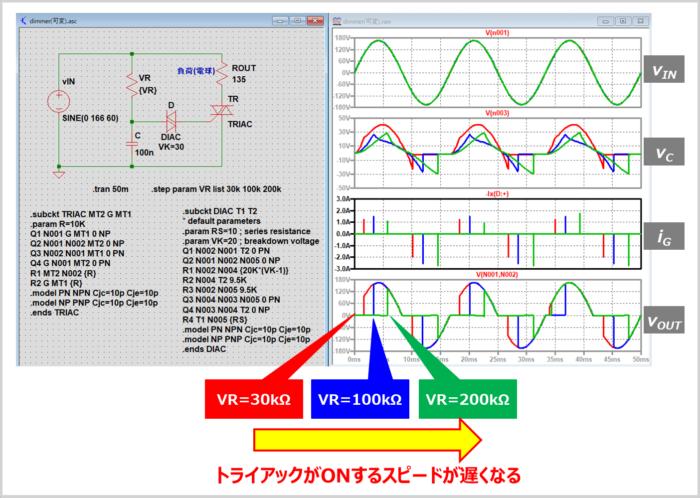 LTspiceを用いた調光器のシミュレーション(stepコマンド)