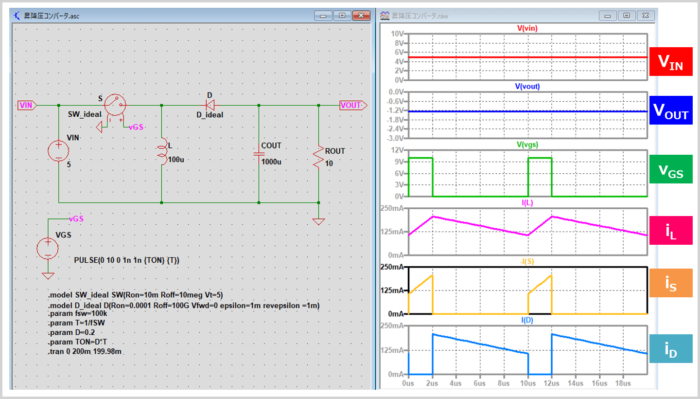 昇降圧コンバータのシミュレーション(降圧時)