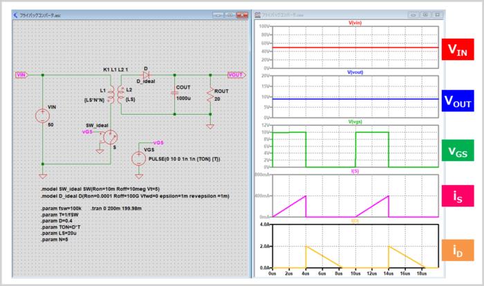 フライバックコンバータのシミュレーション(DCMモード)